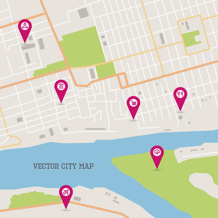 geotag: Vector flat abstract city map with pin pointers and infrastructure icons