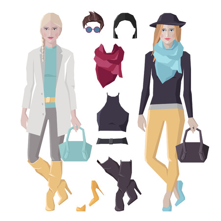 Vector flat style woman figures, outfit concept, fashion girls in beautiful clothes