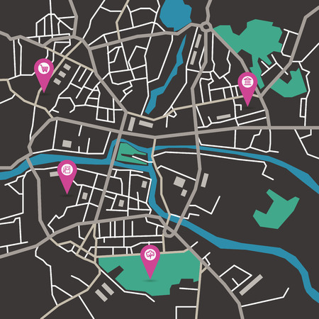 geotag: Vector flat abstract city map with pin pointers and infrastructure icons, dark colors