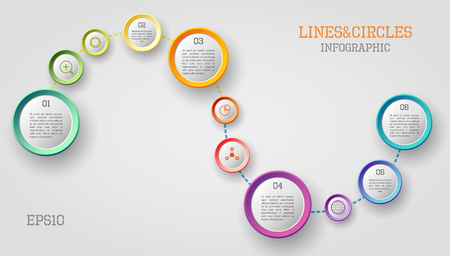 display problem: Modern vector circle and line infographic elements in bright colors