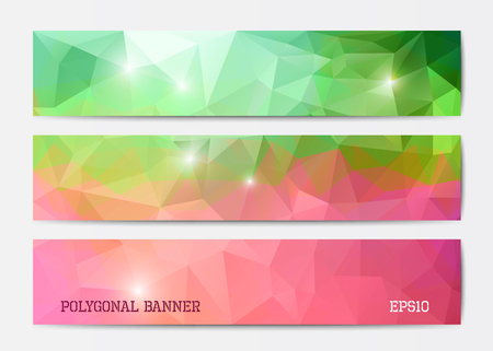 Vector abstract polygonal triangle banner templates in green and pink Illustration