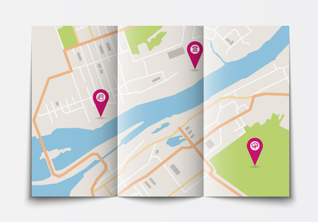 megapolis: Vector flat paper city map lying open, top view