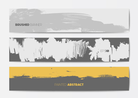 Abstract grunge banner templates, brush spots in yellow, grey and white, web design element