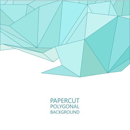 Vector abstract papercut background, flat triangle design in blue colors Ilustração Vetorial