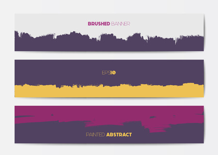 grunge banner: Abstract grunge banner templates, brush spots in pink and purple, web design element Illustration