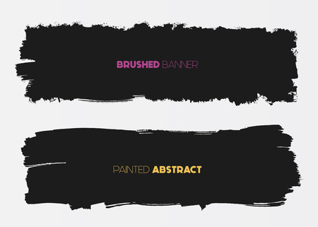 Abstract grunge banner templates, brush spots in black, web design element