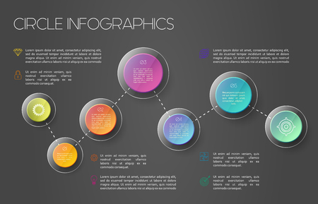 display problem: Vector business infographic template with colorful circles and lines, under glass, dark background Illustration