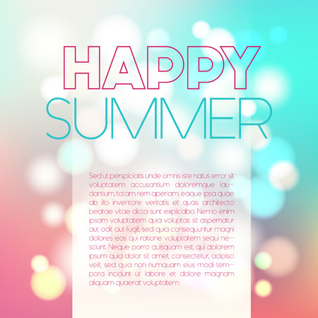 Vector blurred poster with bokeh, happy summer postcard, abstract celebration concept, defocused background