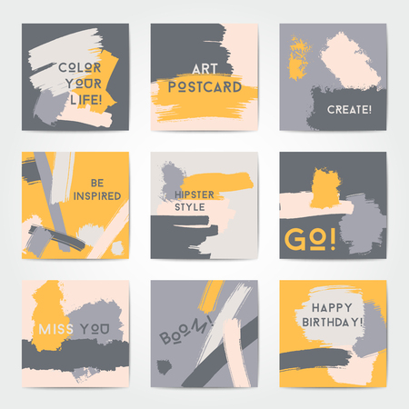 Modern grunge brush postcard template, art vector cards design in grey and yellow