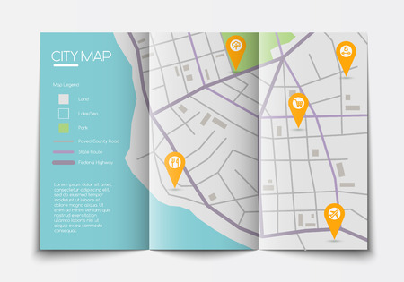 legend: flat paper city map lying open, top view, abstract map with legend