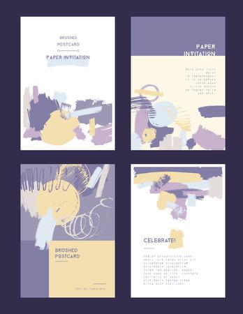 postcard template: Modern grunge brush postcard template, art cards design in bright colors