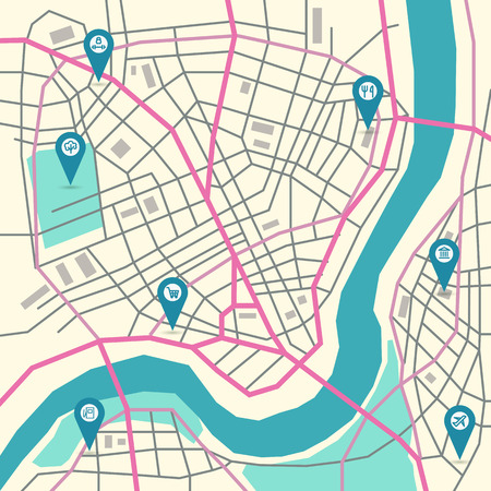 geotag: flat abstract city map with pin pointers and infrastructure icons, trendy colors