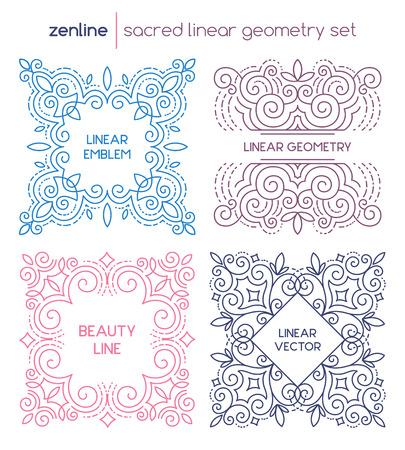 linear abstract emblem set, thin line design  elegant symbols, decorative shapes