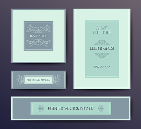 postcard design: modern elegant postcard design templates, wedding invitation,  vignette cards design in soft colors Illustration