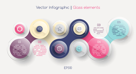 display problem: infographic scheme with colorful circles connected and glass elements, data display concept with text, bright colors