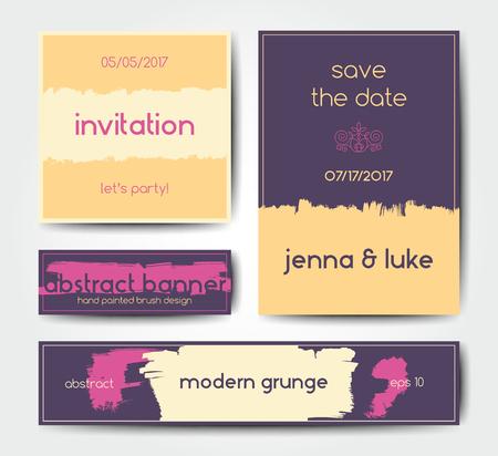 soft colors: Modern grunge brush design templates, wedding invitation, banner, art vector cards design in soft colors