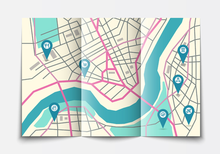 geotag: Vector flat paper city map lying open, top view, brochure with map