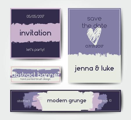 grunge banner: Modern grunge brush design templates, wedding invitation, banner, art cards design in soft colors