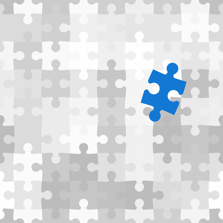 outsider: Blue puzzle piece different from another grey ones