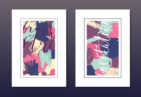 postcard design: Modern grunge brush design templates, wedding invitation, postcard, art vector cards design in bright colors Illustration