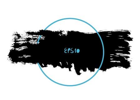 hand brushed: Vector splash in a frame, hand drawn painted long banner inside blue circle, modern grunge brushed poster Illustration