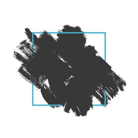hand brushed: Vector splash in a frame, hand drawn painted diagonal banner inside blue square, modern grunge brushed poster Illustration