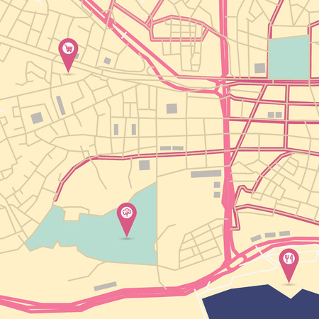 avenue: Vector flat abstract city map with pin pointers and infrastructure icons