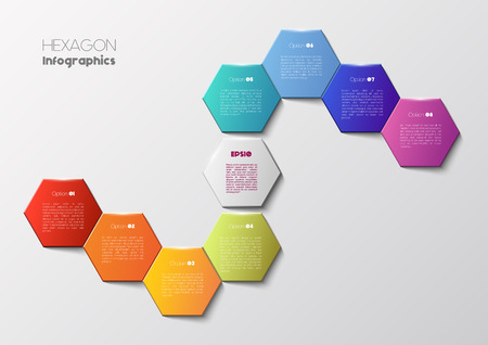 display problem: Vector infographic scheme with colorful hexagons, polygonal infographics Illustration