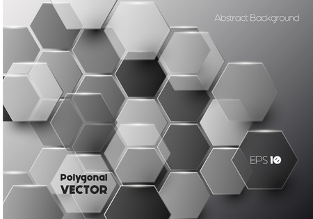 splinter: Vector modern hexagonal background in black and grey, geometric background with overlapping polygons Illustration