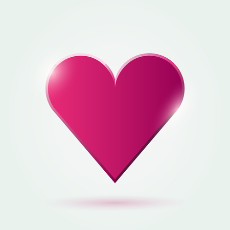 adoration: Vector flat heart pink icon with drop shadow on white background