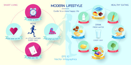 microelements: Vector infographics happy lifestyle and healthy eating concept, smart living, day planning, guide to happy life, living strategy Illustration