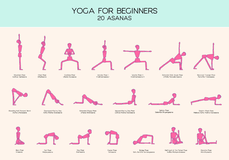 Vector set of stick figures doing yoga asanas, yoga for beginners, gymnastics people infographics, 20 basic poses