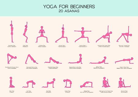 Vector conjunto de figuras de palo haciendo asanas de yoga, yoga para principiantes, gimnasia personas infografía, 20 posturas básicas