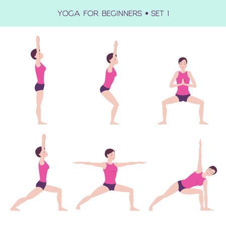 Vector set of basic yoga asanas, yoga for beginners, woman figure doing exercises, 6 asanas Illustration