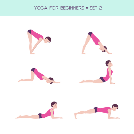 Vector set of basic yoga asanas, yoga for beginners, woman figure doing exercises, 6 asanas