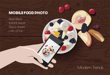 taking picture: Vector flat lay mobile food photo, hand with phone taking picture of food on wooden background, modern mobile photography concept trendy scene