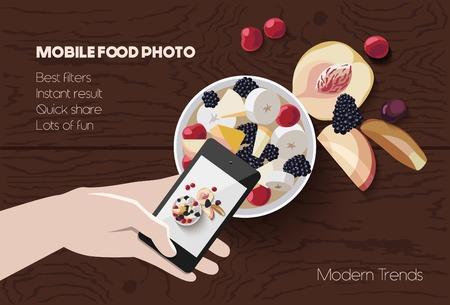 Vector flat lay la foto alimentare mobile, mano con il telefono che cattura immagine di cibo su sfondo in legno, moderno concetto di fotografia mobile trendy