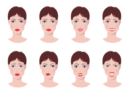 calm woman: Vector set of woman faces with different emotions, happy, calm, sad, angry, surprised faces Illustration