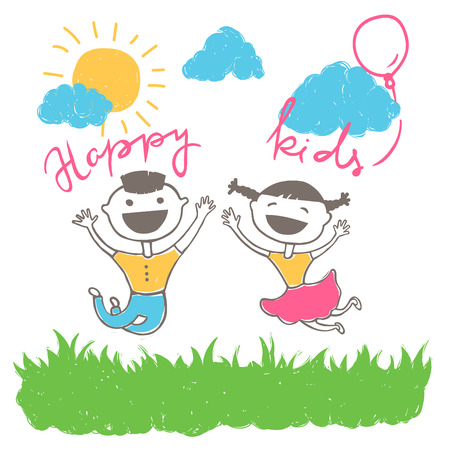 happy kids jumping: Vector drawing of happy kids jumping outside and laughing, scene with sun, clouds and grass, cartoon style illustration