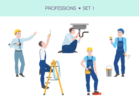 Vector set of industrial construction workers, professions concept, architect, constructor, painter working characters