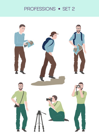 Vector set of travelling related professions, travelling concept, traveller and photographer in different poses Vetores