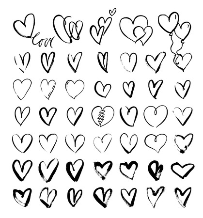 Vector doodle hand-drawn grunge black hearts set, hand drawn heart symbols
