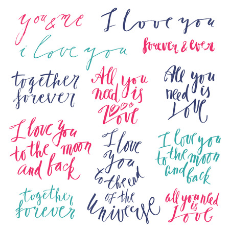phrases: Vector lettering with love related phrases, handwritten quotes and words Illustration
