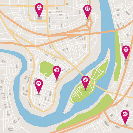 prospects: Vector flat abstract city map with pin pointers and infrastructure icons