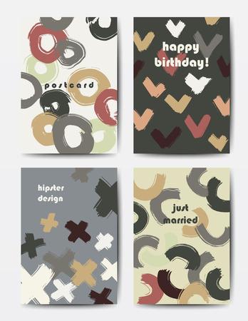 postcard: Modern grunge brush postcard template, art vector cards design in autumn colors, funny hipster design postcards, doodle circles and ticks
