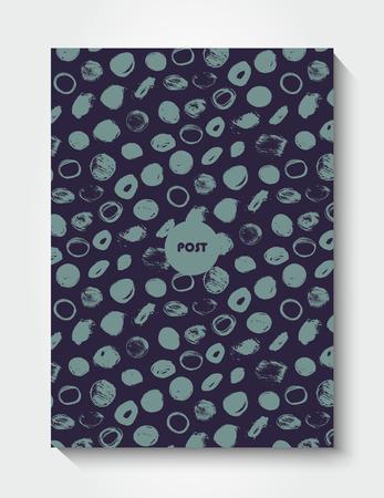 postcard: Modern grunge brush postcard template, art vector card design, funny hipster design, doodle background Illustration