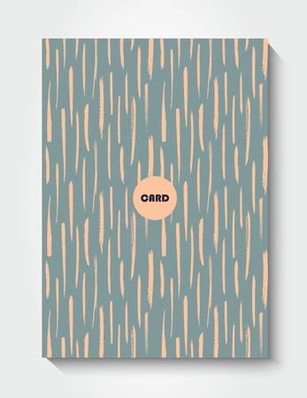 postcard design: Modern grunge brush postcard template, art vector card design, funny hipster design, doodle background Illustration