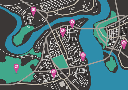 megapolis: Vector flat abstract city map with pin pointers and infrastructure icons, dark colors, horizontal
