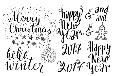 happy new year banner: Happy new year 2017 set of lettering, hand drawn ink dots and words Illustration
