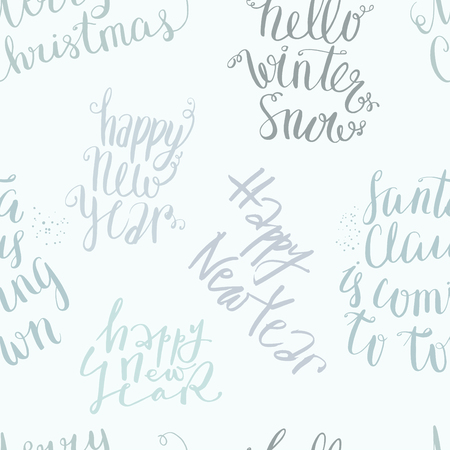New Year And Merry Christmas Vector Seamless Lettering Pattern ...
